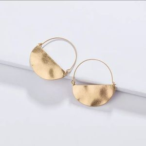 Gold Crescent hoop style Earrings